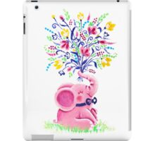 Spring Bouquet - Rondy the Elephant holding beautiful flowers iPad Case/Skin