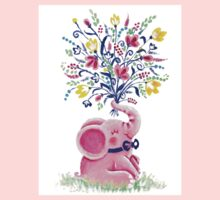Spring Bouquet - Rondy the Elephant holding beautiful flowers One Piece - Long Sleeve