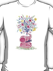 Spring Bouquet - Rondy the Elephant holding beautiful flowers T-Shirt