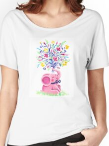 Spring Bouquet - Rondy the Elephant holding beautiful flowers Women's Relaxed Fit T-Shirt