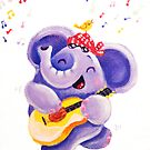 Playing Guitar - Rondy the Elephant musician by oksancia