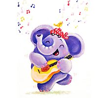 Playing Guitar - Rondy the Elephant musician Photographic Print