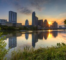 Texas Images - Austin Skyline at Sunrise from Zilker Park by RobGreebonPhoto