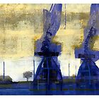 morning cranes by David  Kennett
