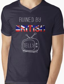 Ruined By British Telly /updated/ Mens V-Neck T-Shirt