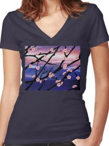 Cherry Blossoms Decorative Painting Women's Fitted V-Neck T-Shirt