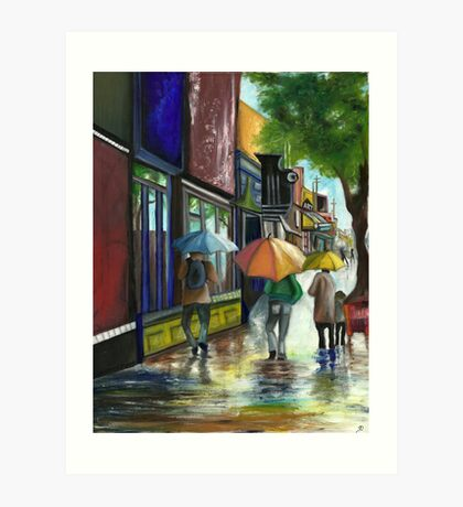 The rain on a sunny day - Original oil painting Art Print