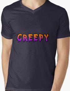 Orange&Purple Ombre Creepy Shirt Mens V-Neck T-Shirt