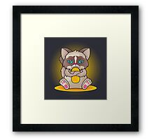 Maneki 'Grumpy' Neko Framed Print