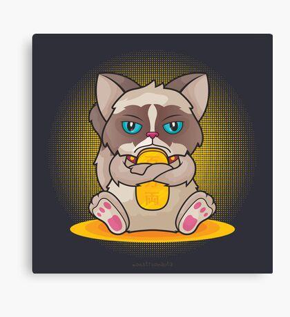 Maneki 'Grumpy' Neko Canvas Print