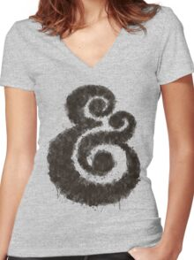 Ink Ampersand Women's Fitted V-Neck T-Shirt