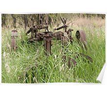 Antique Plow Overgrown in a Field Poster