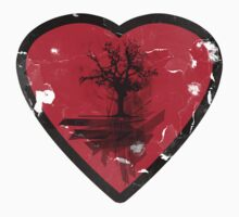 Love Nature - Grunge Tree and Heart - Earth Friendly T Shirt by Denis Marsili
