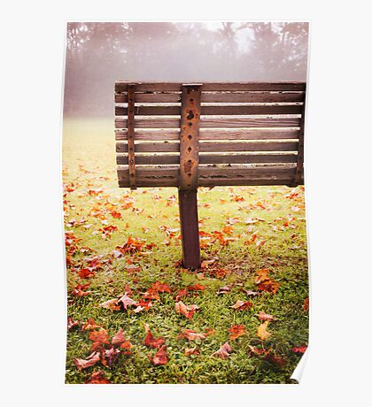 Park Bench in Autumn Poster