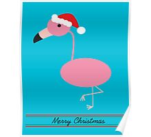 Merry Christmas Pink Flamingos with Santa Hat Poster