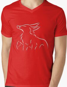 Twotone Fox Poetry Mens V-Neck T-Shirt