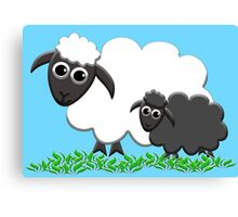 Baby Black Sheep with Ewe Mom Canvas Print