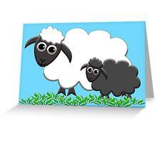 Baby Black Sheep with Ewe Mom Greeting Card