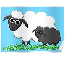 Baby Black Sheep with Ewe Mom Poster