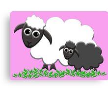 Black Sheep Lamb & Mom in Pink Canvas Print