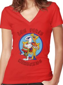 Los Pokés Hermanos Women's Fitted V-Neck T-Shirt
