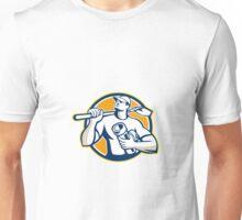 Drainlayer Worker Shovel Pipe Circle Retro Unisex T-Shirt