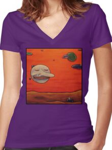 happy orb Women's Fitted V-Neck T-Shirt