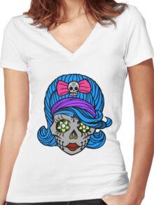 She Sugar Skull Women's Fitted V-Neck T-Shirt