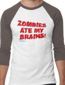 Zombies Ate My Brains Men's Baseball ¾ T-Shirt