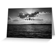 Low-flying Lancaster sunset black and white version Greeting Card