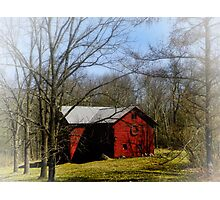 Red Barn in the Mist Photographic Print