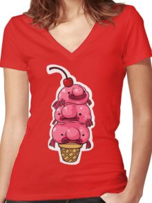 Blobfish Sweeties Women's Fitted V-Neck T-Shirt