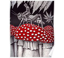 Grasshopper Rider surreal ink pen drawing Poster