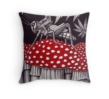 Grasshopper Rider surreal ink pen drawing Throw Pillow