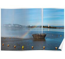 Rainbow on Lake Burley Griffin Poster