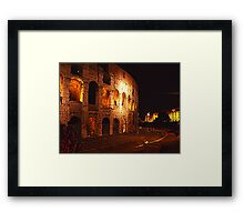 Detail of the Colosseum at night Framed Print