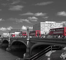 London Buses - Selective Colour by Helen Barnett