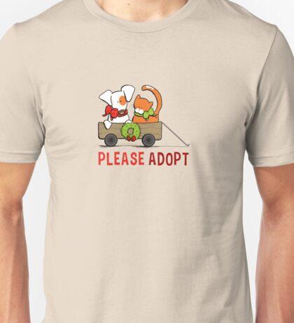 Patch & Rusty™ Christmas Wagon Please Adopt Unisex T-Shirt