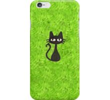 Black Cat with Green Background iPhone Case/Skin