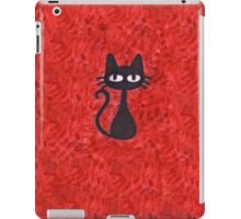 Black Cat with Red Background iPad Case/Skin