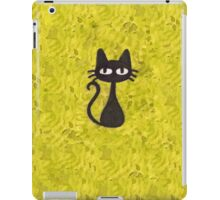 Black Cat with Yellow Background iPad Case/Skin