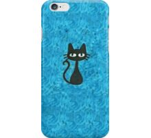 Black Cat with Blue Background iPhone Case/Skin