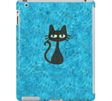 Black Cat with Blue Background iPad Case/Skin