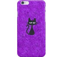 Black Cat with Purple Background iPhone Case/Skin