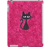 Black Cat with Pink Background iPad Case/Skin