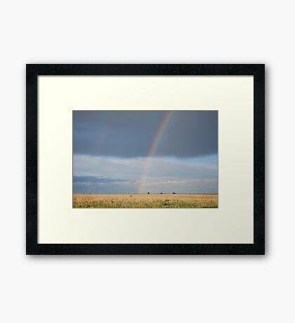 Double Rainbow on Kansas Prairie Framed Print