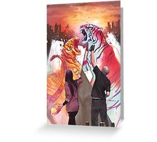 Dueling Tigers Greeting Card