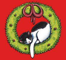 Christmas Kitty Wreath Kids Clothes