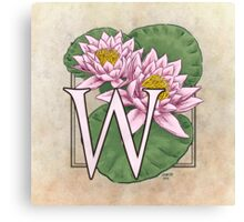 W is for Water Lily  Canvas Print