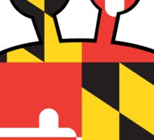 Maryland Flag Cartoon Crab Sticker